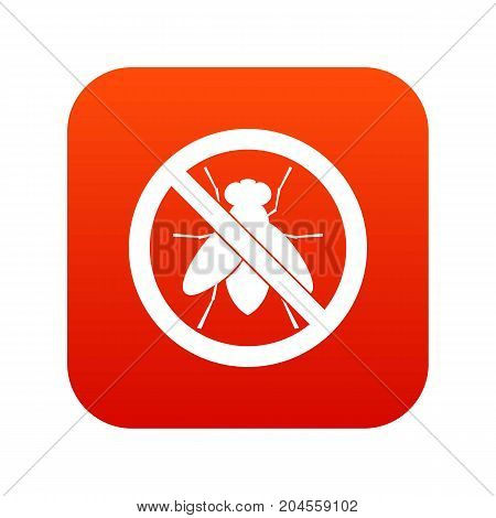 No fly sign icon digital red for any design isolated on white vector illustration
