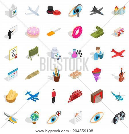 Tendency icons set. Isometric style of 36 tendency vector icons for web isolated on white background