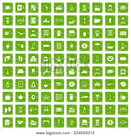 100 inn icons set in grunge style green color isolated on white background vector illustration