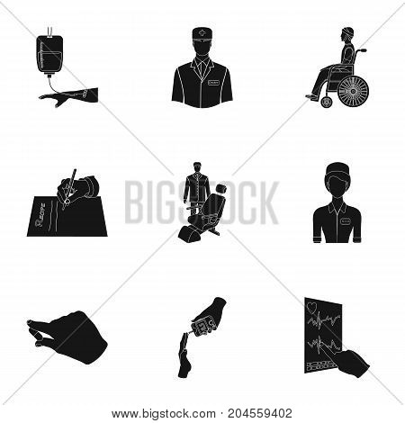 Injured in a stroller, blood transfusion, blood sugar test, doctor, medical staff. Medicine set collection icons in black style vector symbol stock illustration .