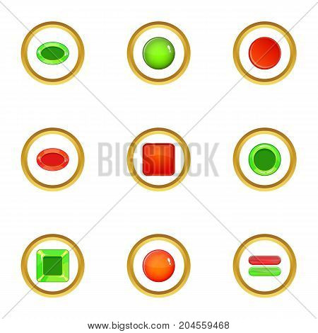 Glossy web button icons set. cartoon style set of 9 glossy web button vector icons for web design