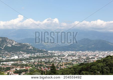 View of Grenoble from the top of the mountain of Vercors, France
