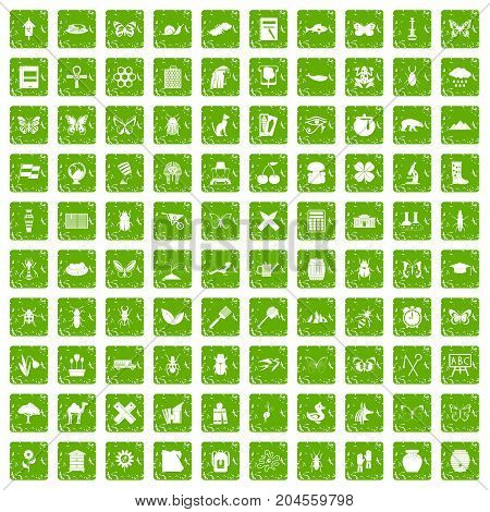 100 insects icons set in grunge style green color isolated on white background vector illustration
