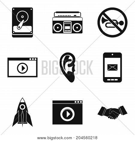 Video player icons set. Simple set of 9 video player vector icons for web isolated on white background
