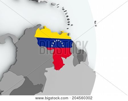 Map Of Venezuela With Flag