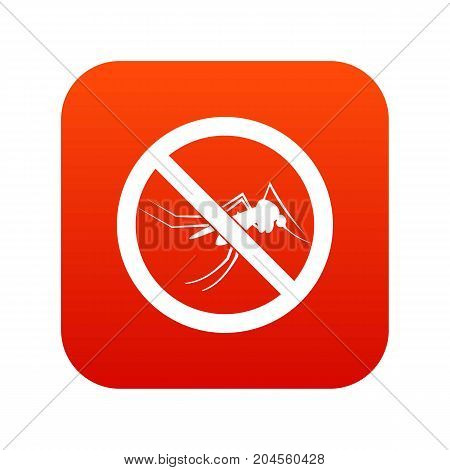 No mosquito sign icon digital red for any design isolated on white vector illustration