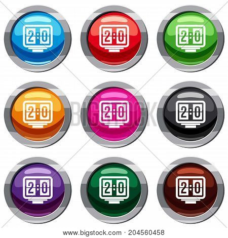 Soccer scoreboard set icon isolated on white. 9 icon collection vector illustration