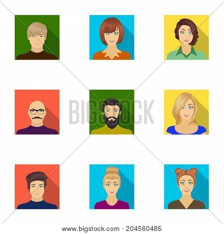 Appearance of the girl in glasses, a guy with a hairdo, a bald man with a beard and other varieties of face. Faces and appearance set collection icons in flat style vector symbol stock illustration . poster