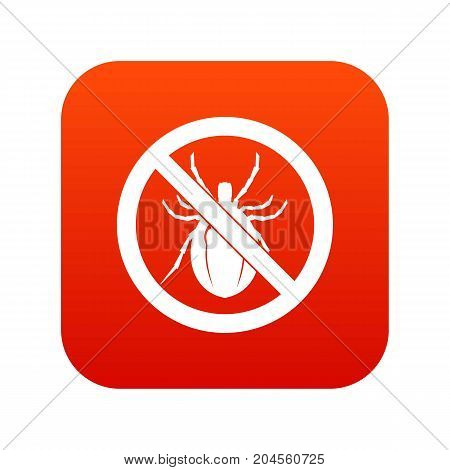 No bug sign icon digital red for any design isolated on white vector illustration