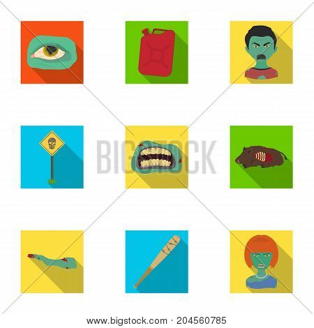 Zombie, dead, rotten, and other  icon in flat style.Hand, flesh, Apocalypse, icons in set collection.