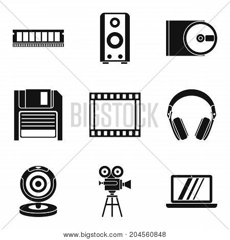 Old technology icons set. Simple set of 9 old technology vector icons for web isolated on white background