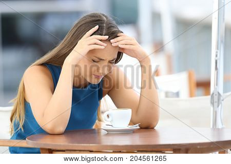 Sad Woman Complaining In A Coffee Shop