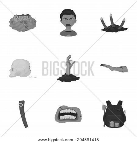 Zombie, dead, rotten, and other  icon in monochrome style.Hand, flesh, Apocalypse, icons in set collection.