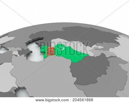 Flag Of Turkmenistan On Globe