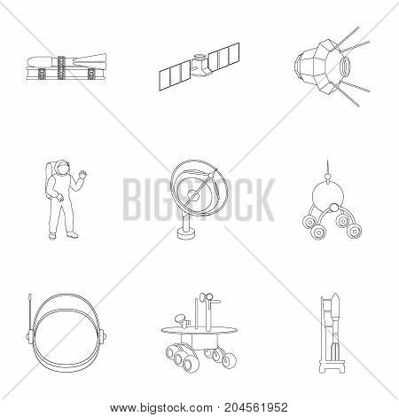 Space ship, Lunokhod, spacesuit and other equipment. Space technology set collection icons in outline style vector symbol stock illustration .