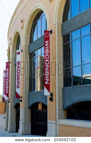 Madison WI - 13 September 2017: Camp Randall Stadium with banners showing Wisconsin and Badgers.
