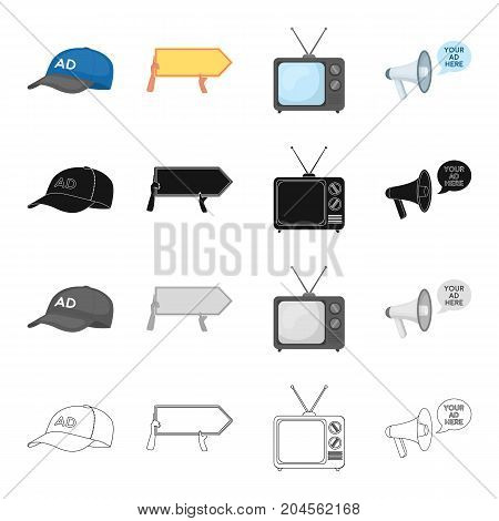 A cap with advertising, a pointer in the hands, a TV, a megaphone. Your advertising is here set collection icons in cartoon black monochrome outline style vector symbol stock illustration .
