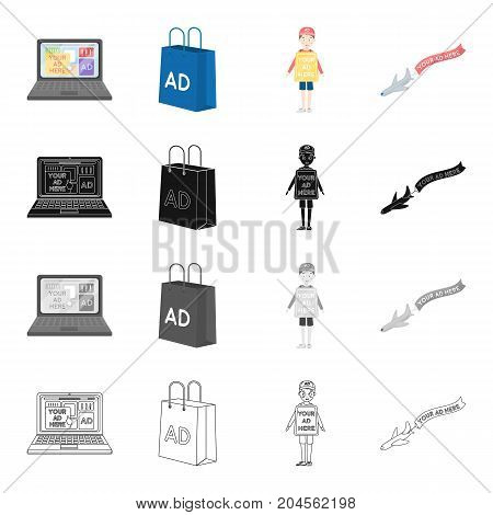 Advertising on the Internet, a bag with an inscription, an agent with a poster, an airplane with a banner. Your advertisement here set collection icons in cartoon black monochrome outline style vector symbol stock illustration .