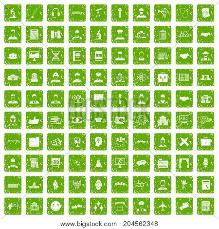 100 intelligent icons set in grunge style green color isolated on white background vector illustration