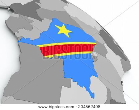 Map Of Democratic Republic Of Congo With Flag On Globe