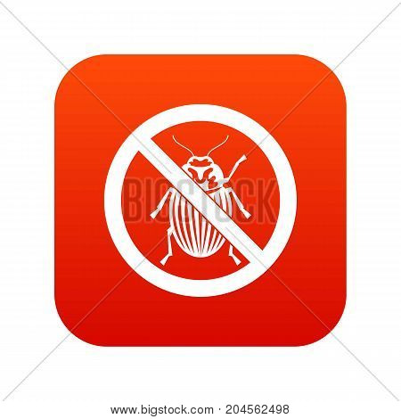 No potato beetle sign icon digital red for any design isolated on white vector illustration