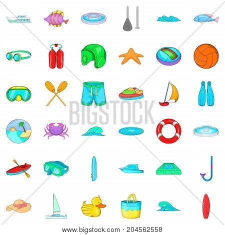 Underwater icons set. Cartoon style of 36 underwater vector icons for web isolated on white background