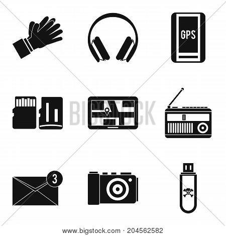 Burning to flash card icons set. Simple set of 9 burning to flash card vector icons for web isolated on white background