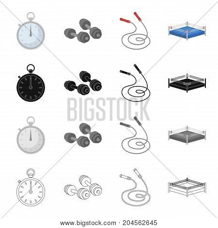 Stopwatch, dumbbells and a skipping rope for training, boxing ring. Boxing set collection icons in cartoon black monochrome outline style vector symbol stock illustration .
