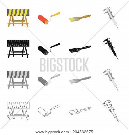 Fencing at the construction site, repair roller, paintbrush, calipers. Construction and repair set collection icons in cartoon black monochrome outline style vector symbol stock illustration .