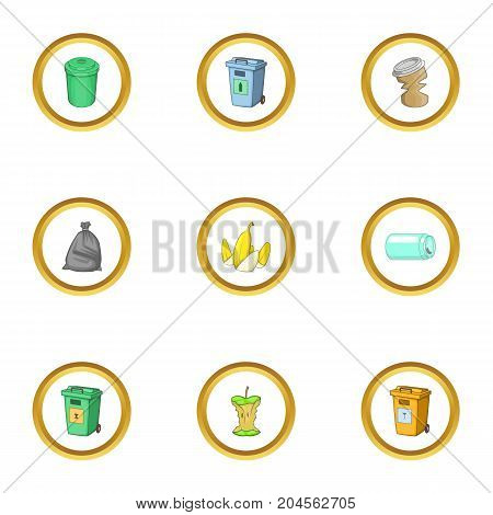 Junk icons set. cartoon style set of 9 junk vector icons for web design