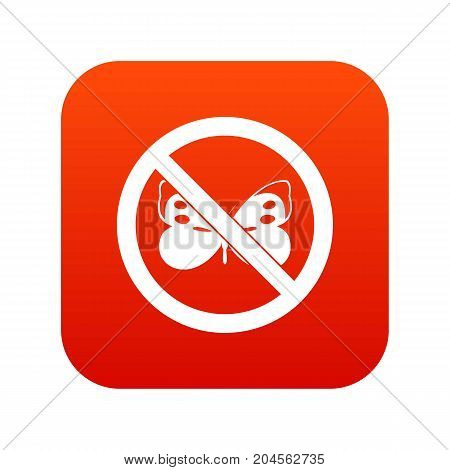 No butterfly sign icon digital red for any design isolated on white vector illustration