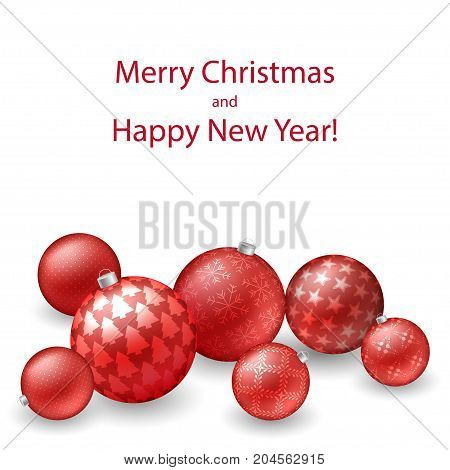 Christmas background with red balls with dots stars snowflakes for xmas and New Year design. Glowing baubles. Vector illustration card template