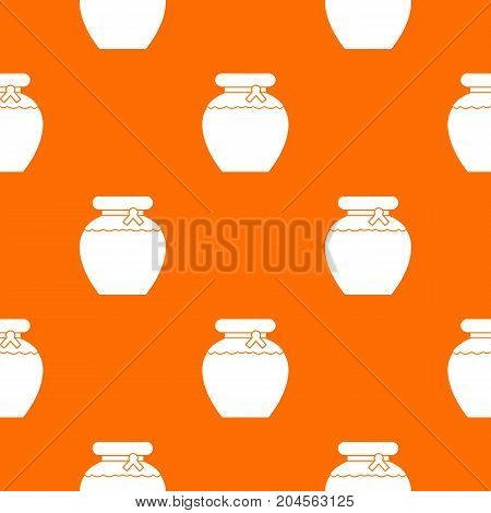 Honey pattern repeat seamless in orange color for any design. Vector geometric illustration