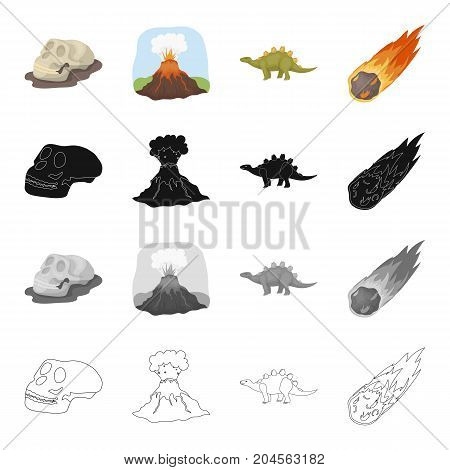 Skull of prehistoric man, volcanic eruption, dinosaur stegosaurus, falling meteorite. Dinosaurs and prehistoric set collection icons in cartoon black monochrome outline style vector symbol stock illustration .