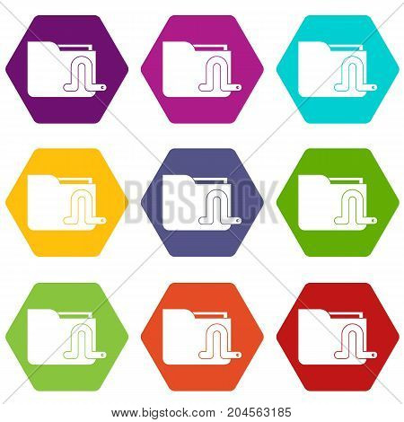 Computer worm icon set many color hexahedron isolated on white vector illustration