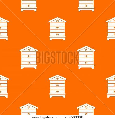 Hive pattern repeat seamless in orange color for any design. Vector geometric illustration