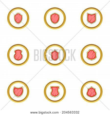 Shiels sticker icons set. cartoon style set of 9 shiels sticker vector icons for web design