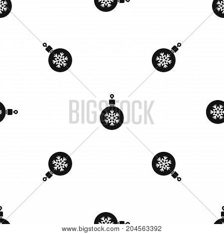 Ball for the Christmas tree pattern repeat seamless in black color for any design. Vector geometric illustration