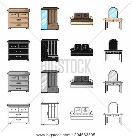 Interior of the bedroom, bed, chest of drawers, furniture in the hallway, dressing table. Furniture and home interiors set collection icons in cartoon black monochrome outline style vector symbol stock illustration .
