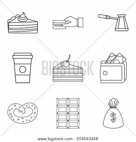 Candy shop icon set. Outline set of 9 candy shop vector icons for web design isolated on white background