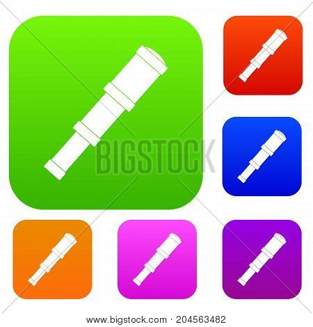 Spyglass set icon color in flat style isolated on white. Collection sings vector illustration