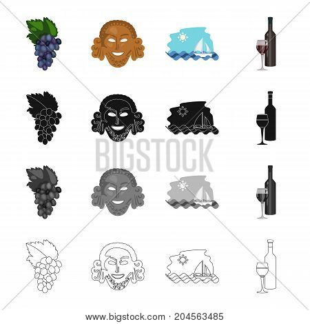 A grape cluster, an antique mask, a Greek sea landscape, a bottle of wine. Greece set collection icons in cartoon black monochrome outline style vector symbol stock illustration .