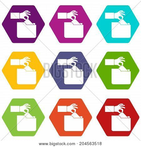 Robbery secret data in folder icon set many color hexahedron isolated on white vector illustration