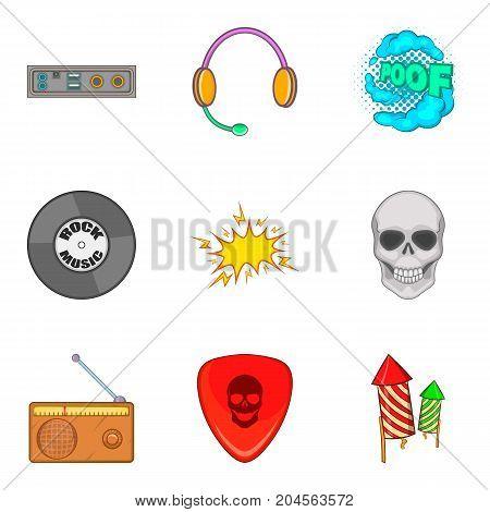 Rock radio icons set. Cartoon set of 9 rock radio vector icons for web isolated on white background