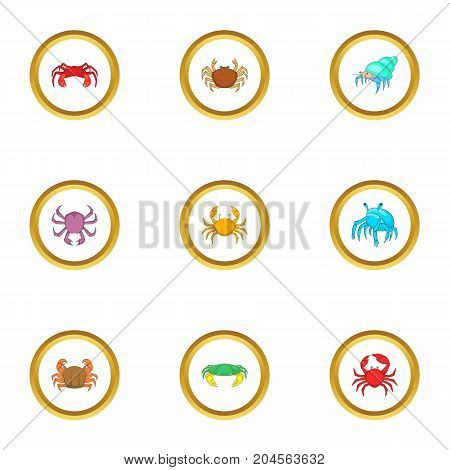 Seafood icons set. cartoon style set of 9 seafood vector icons for web design