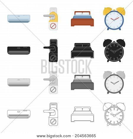 Air conditioning, sign Stop on the door handle, bed in the hotel room, alarm clock. Hotel set collection icons in cartoon black monochrome outline style vector symbol stock illustration .