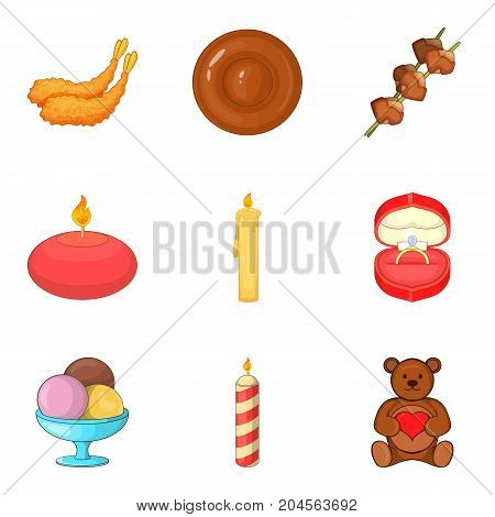 Make a wish icons set. Cartoon set of 9 make a wish vector icons for web isolated on white background