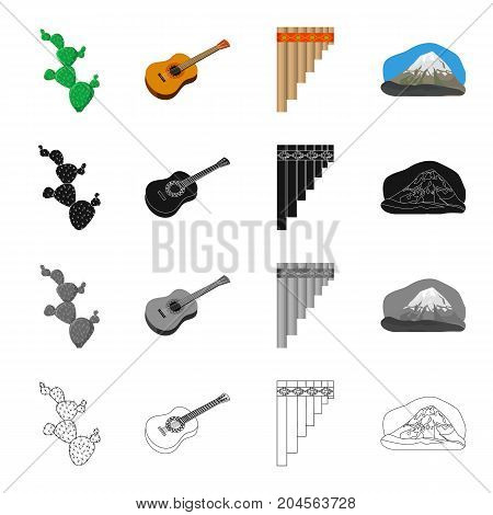 Cactus, Mexican guitar, wind instrument pan flute, mountain. Country Mexico set collection icons in cartoon black monochrome outline style vector symbol stock illustration .