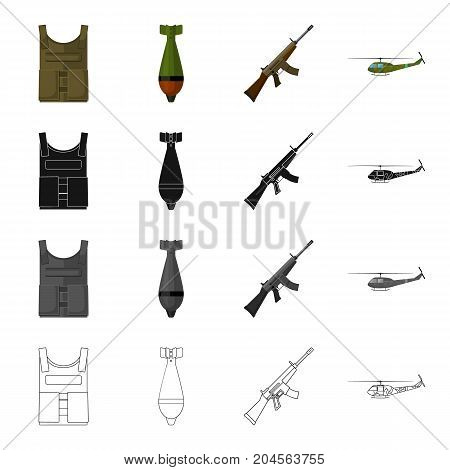 Military bulletproof vest, mine, machine gun, combat helicopter. The military and the army set collection icons in cartoon black monochrome outline style vector symbol stock illustration .