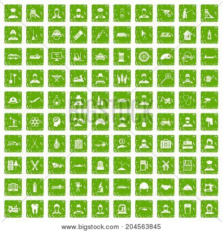 100 job icons set in grunge style green color isolated on white background vector illustration